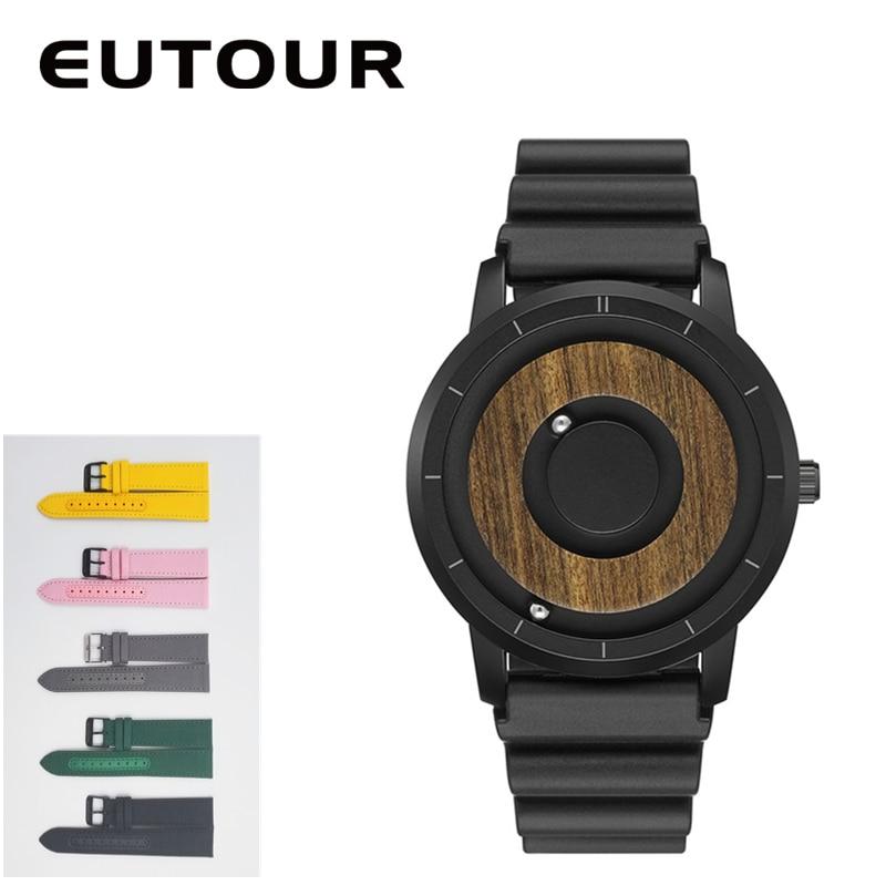 EUTOUR  Magnet Watches 2019 men watch women watches fashion Casual Quartz Watch Simple Men Minimalist Wooden dial 2