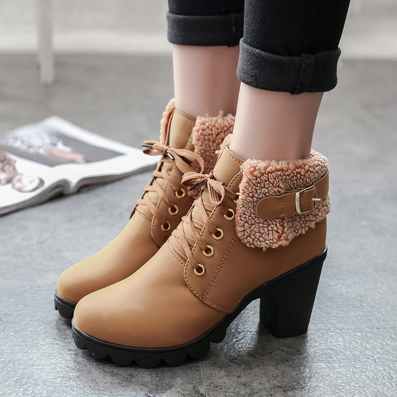 2018 New Autumn Winter Women Boots High Quality Solid Lace-up Ankle shoes PU Leather Fashion High Heel Martin Boots Hot Sale mcckle women s lace up rivets buckle ankle martin boots ladies fashion thick heel platform high quality leather autumn shoes