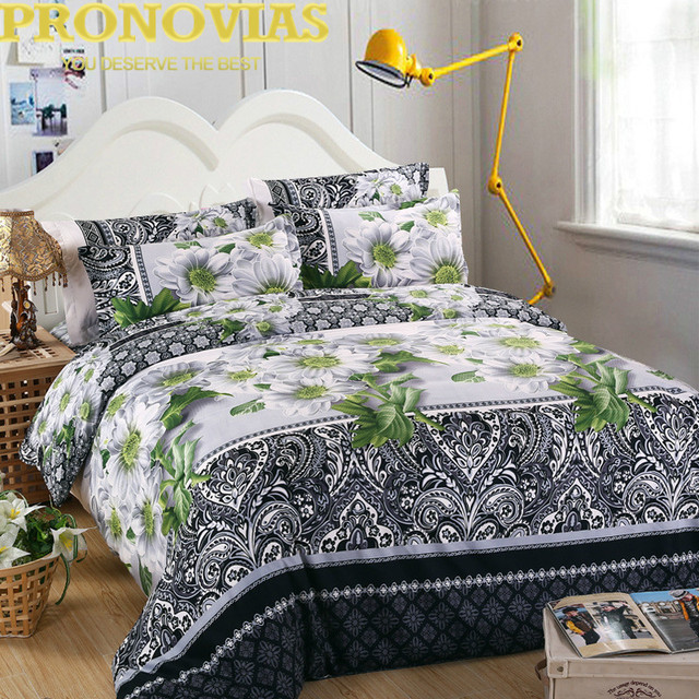 Ovias Black N White Patterned Fl Bedding Set King Queen Twin Size Duvet Cover