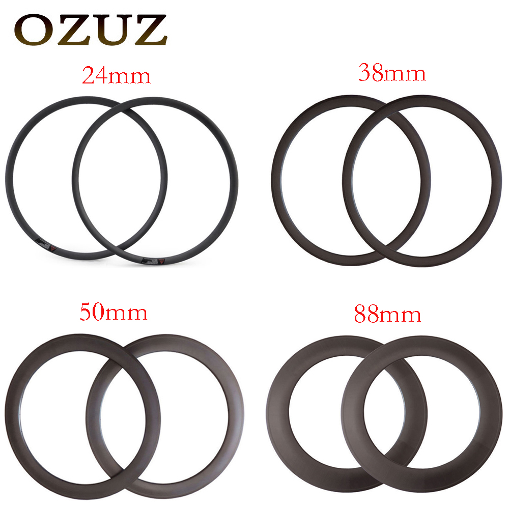 все цены на OZUZ Top Quality 24mm 38mm 50mm 88mm Depth Clincher Chinese Carbon Rim 23mm Width 20H 24H Bicycle Wheel Rim 3K Matte 3K Glossy
