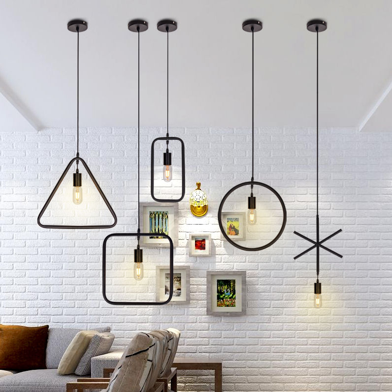 Vintage E27 Geometrical Figure Simple Hanging Light 1pc Creative Iron White/Black Finished Loft Pendant Lamps DroplightVintage E27 Geometrical Figure Simple Hanging Light 1pc Creative Iron White/Black Finished Loft Pendant Lamps Droplight