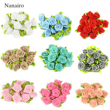 50PCS 2 CENTIMETRI di Seta Artificiale Mini Rose Fiori Heads Fare Del Nastro Del Raso del Mestiere di DIY Scrapbooking Applique Per La Decorazione di Nozze(China)