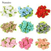 50 adet 2CM yapay ipek Mini gül çiçek kafaları saten kurdele DIY Craft Scrapbooking aplike düğün dekorasyon için