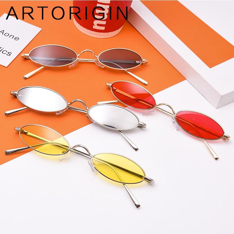 Retro unisex small oval sunglasses men women metal frame black pink red oculos female lunettes shades small sun glasses 2018