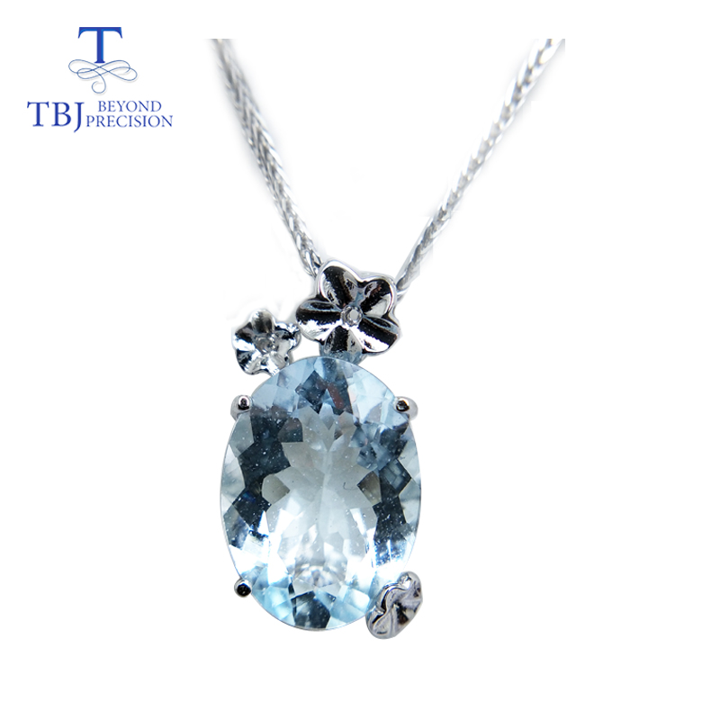 TBJ,Luxury pear shape pendant with good color natural brazil aquamarine gemstone in 925 sterling silver luxury jewelry for womenTBJ,Luxury pear shape pendant with good color natural brazil aquamarine gemstone in 925 sterling silver luxury jewelry for women
