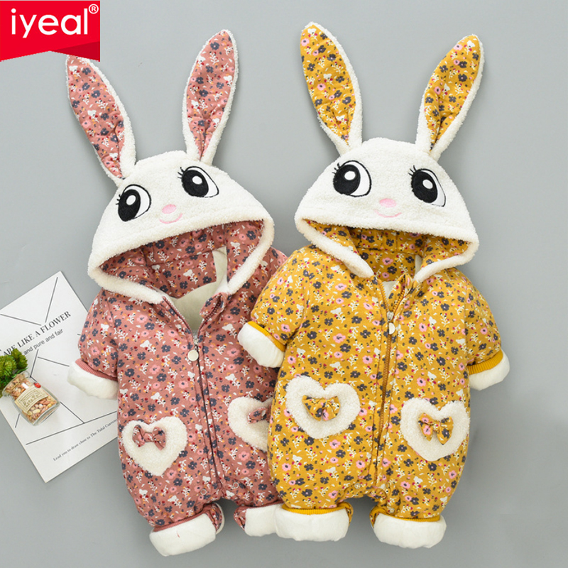 IYEAL Baby Girl Clothes Inside Flannel Cartoon Animal Cute Rabbit 3D Ears Hooded Warm Romper Newborn Infant Jumpsuit Overalls iyeal baby rompers warm soft flannel winter baby clothes cartoon animal 3d ears children girls jumpsuit newborn infant romper