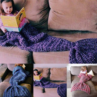 Bedding Outlet Handmade Yarn Knitted Mermaid Tail Wool Blanket For Adult Kids Throw Bed Wrap Super