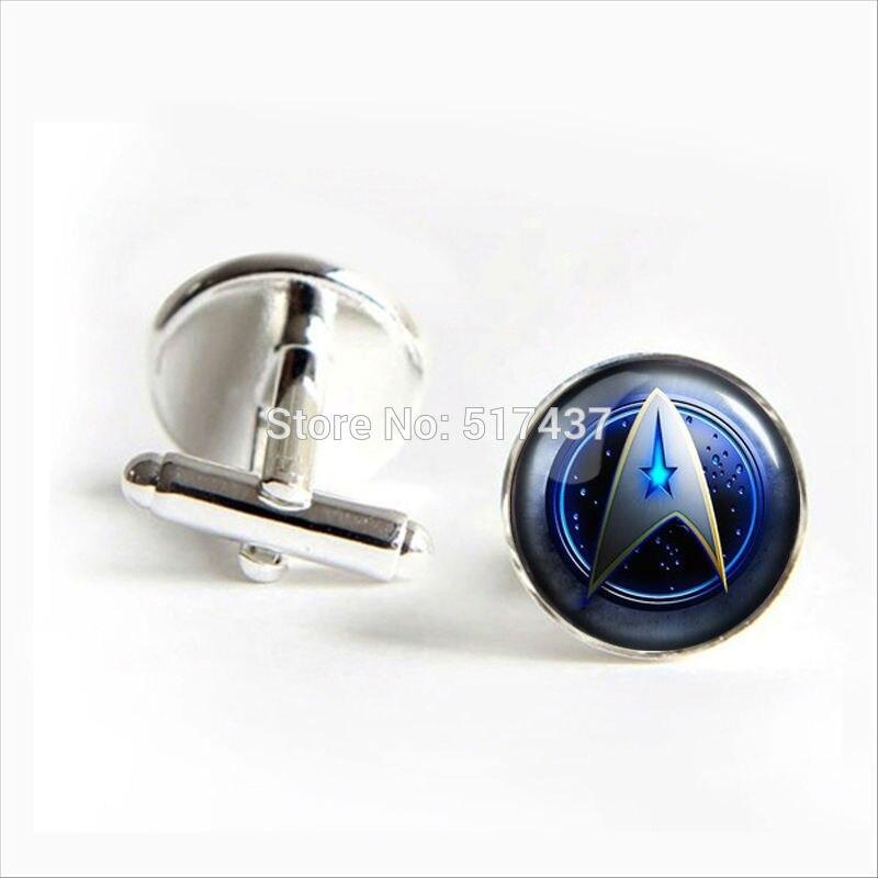 2018 New Fashion Star Trek Symbol Cufflinks Star Trek Cuff links For Mens Silver Black Round Cufflinks trek olimpia nnn ик 41 silver purple