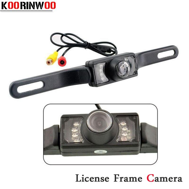 Koorinwoo CCD License Plate Frame Car Rear View Camera Back Up IR Camera Night Vision Waterproor Reverse Parking For Universal