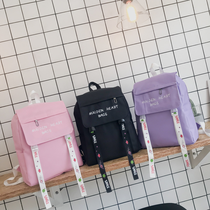 Japanese Cute Small Fresh Embroidery Backpack Cute Streamer Letter College Wind Backpack Candy Color Student Bag