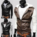 Mens Knitted Design Hooded Patchwork Slim Leather Jacket Faux Leather Patchwork Clothing Outerwear Men Jacket Coat