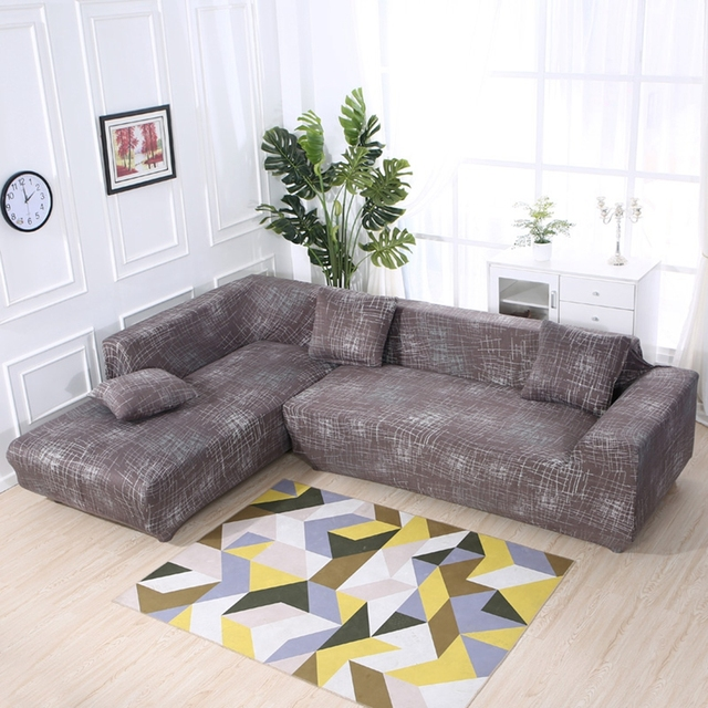 US $56.1 49% OFF|2PCS Cushion Covers Universal Stretch L Shape Sofa Covers  For Living Room Brown Elastic Sectional Sofa Slipcovers All inclusive-in ...