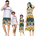 Summer Holiday Family clothes mother Daughter dresses girl Bohemian dress father son Sets cotton short sleeve T shirt & Shorts