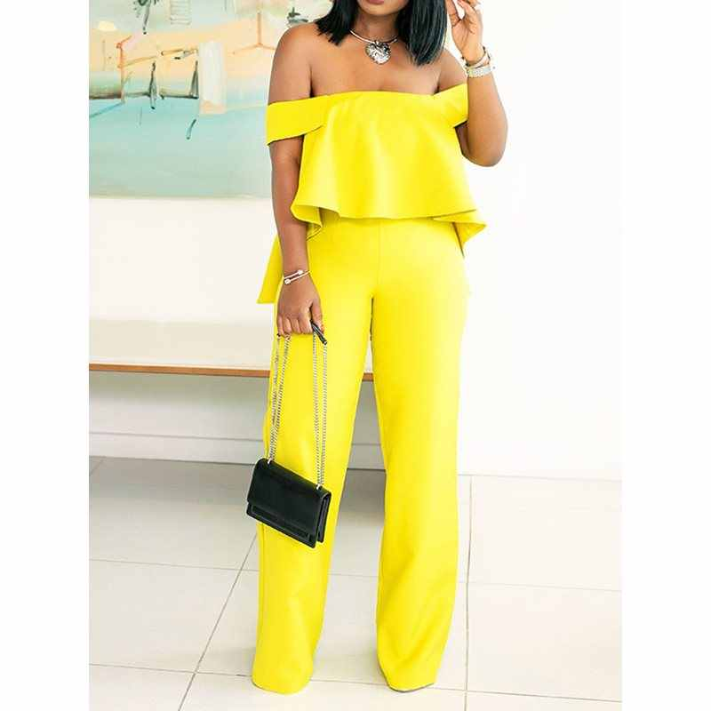 Bright Yellow Vrouwen Jumpsuits 2019 Sexy Overalls Ruffle Party Backless Business Office Lady Hoge Taille Causale Jumpsuits Vrouwelijke