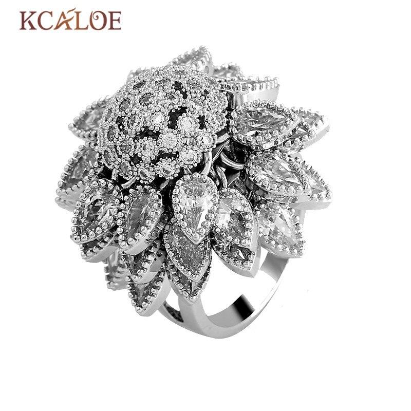 KCALOE luxe mariage cristal autrichien anneaux fleurs secouant grandes fleurs cubique zircone femmes bague de fiançailles bijoux de mariée