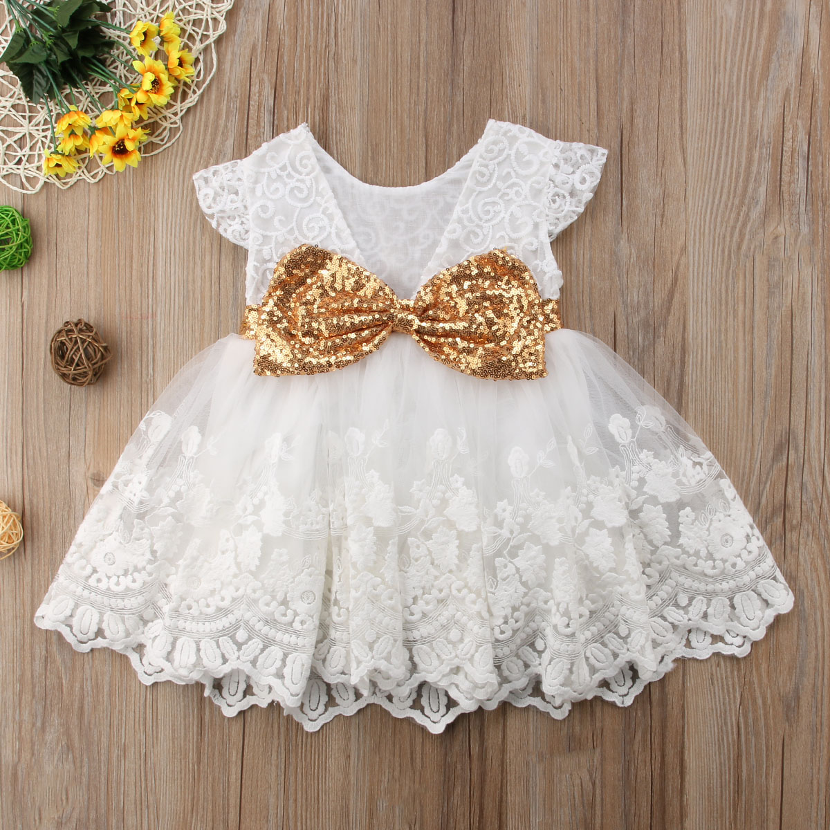 Back Big Bow Girl Princess Sequins Dress Toddler Baby Kids Wedding Fancy Party Tutu Tulle Ball Gown Dresses toddler kids baby girls sleeveless orange cute cartoon back zipper fox fancy dress princess party tulle tutu dresses
