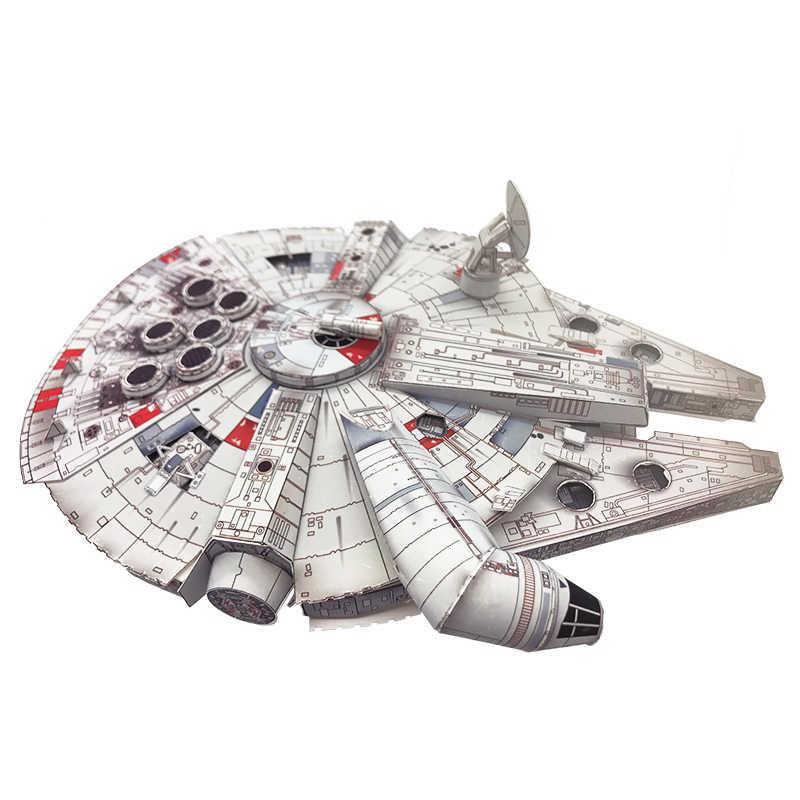 حرب النجوم سفينة متعة ثلاثية الأبعاد ورقة Diy بها بنفسك مصغرة نموذج مجموعات لغز لعب الأطفال التعليمية الصبي الربط العلوم