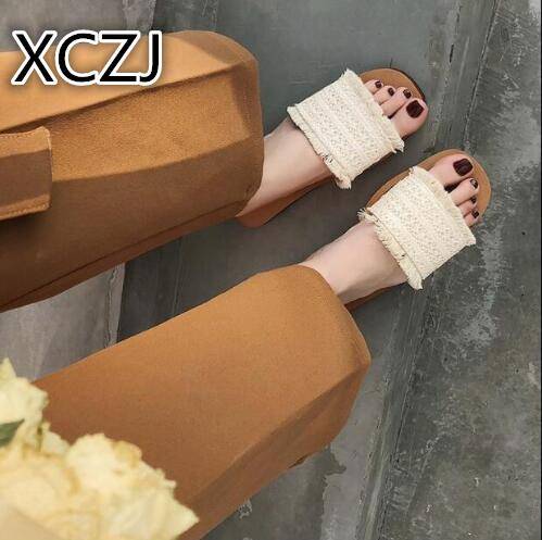 XCZJ 2018 summer women flat slippers weaving ethnic wind beach slippers shoes wo