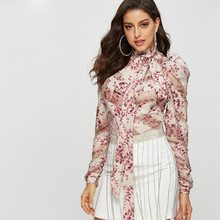 HIGH QUALITY Newest Fashion 2019 Runway Designer Shirt Women's Long Sleeve Bow Collar Floral Print Blouse Tops