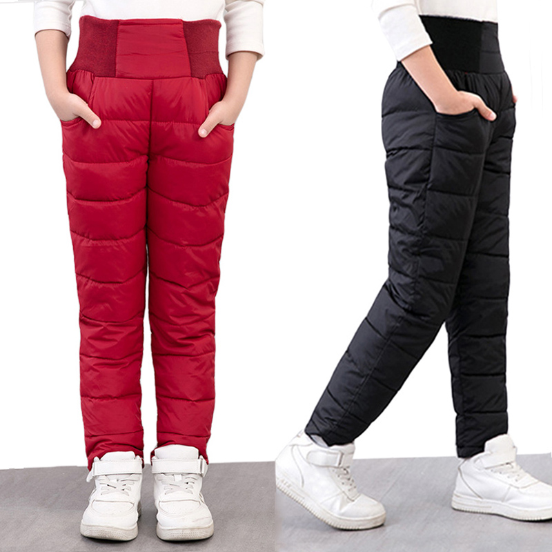 Casual Girl Boy Winter Pants Cotton Padded Thick Warm Trousers Waterproof Ski Pants For Girls Elastic High Waisted Baby Kid Pant