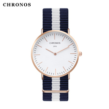 2017 Men Women Watches Top Brand Luxury CHRONOS Quartz Watch Nylon Rose Gold Silver Clock Relojes Mujer Montre Femme Horloge