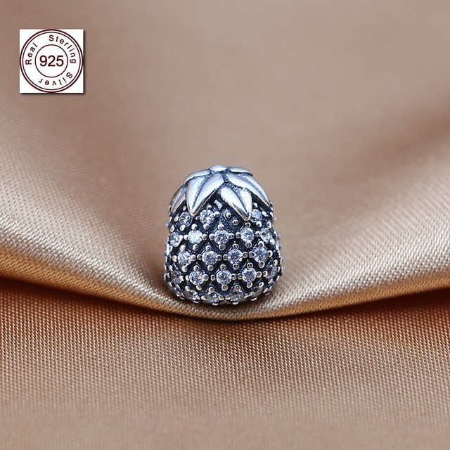 d8919ff02 Real 925 Sterling Silver Sparkling Pineapple Charm Beads Fit Original  Pandora Bracelet Pendant beads for jewelry