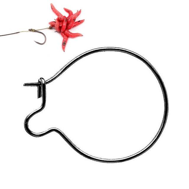 50Pcs Stainless Steel Carp Fishing Maggots Clips Hair Rigs for Bait Rings