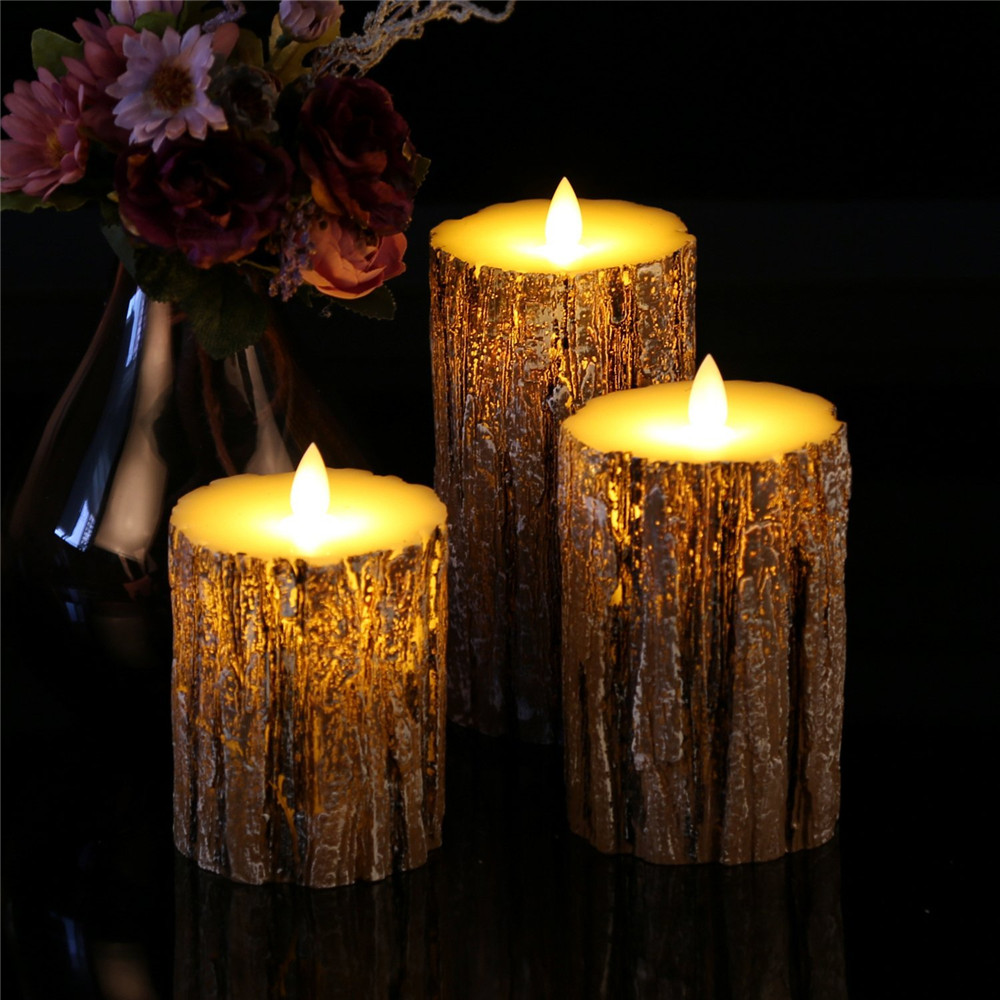 3pcs LED Candle Light Battery Candles Lamp Flame Remote Control Candle Wax Birthday Electric Pillar Christmas Candles 30