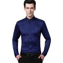 DUDALINA Men'S Shirts 2017 New Brand Top Quality Fashion Stripe Polka Dot Slim Fit Male Shirt Long-Sleeves Tops Clothing