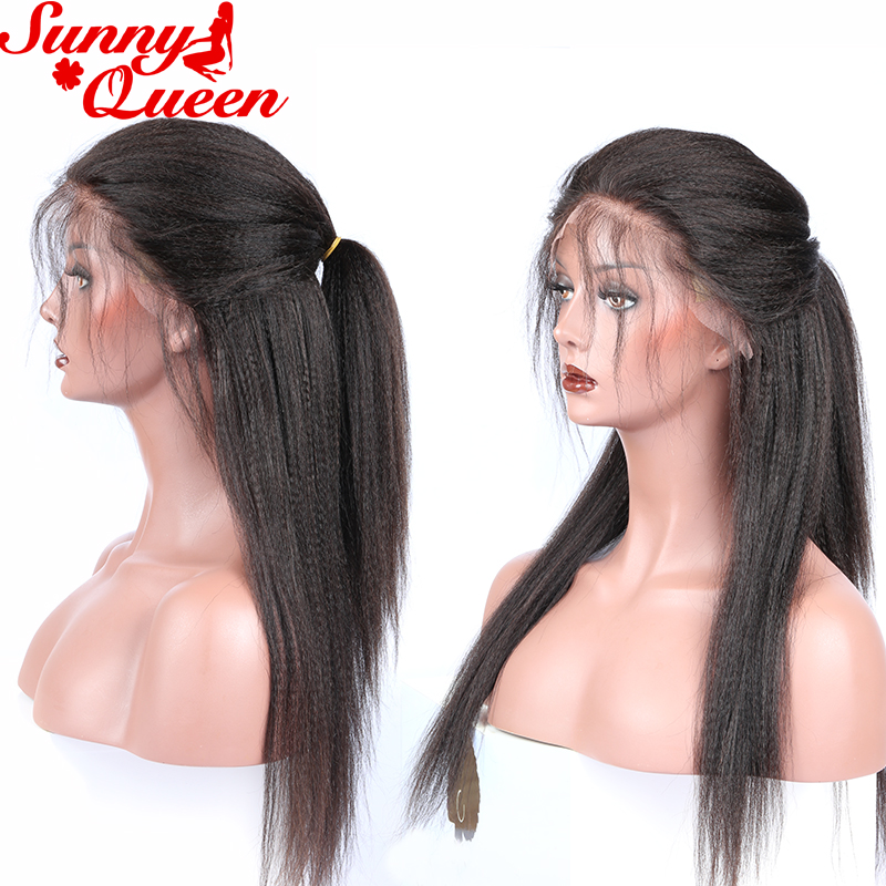 이탈리아어 야키 스트레이트 전체 레이스 인간의 - 인간의 머리카락 (검은 색) - 사진 3