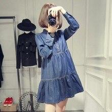 Новинка; весеннее джинсовое мини-платье для беременных; повседневное джинсовое платье в Корейском стиле с длинными рукавами; плиссированные джинсы с высокой талией; платья для беременных; Одежда для беременных