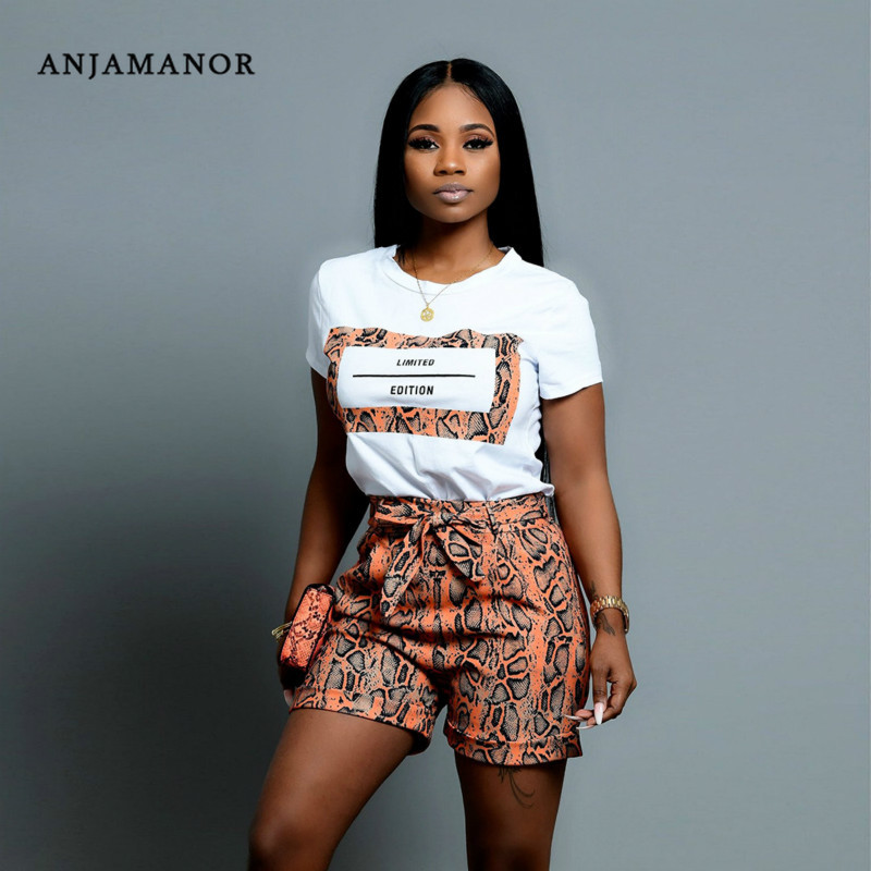 ANJAMANOR Snake Skin Print Casual Sexy Two Piece Set Top And Pants Plus Size Shorts Matching Sets Cute Women Outfits D43-AC85