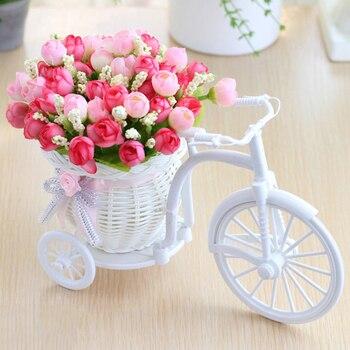 Dia dos namorados Presente rattan vaso + flores metros cenário primavera subiu conjunto flor artificial decoração da casa decoração de Casamento Presente de Aniversário