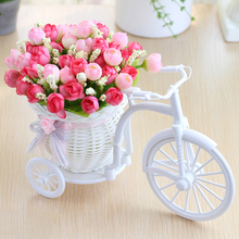 Valentines Day Gift rattan vase+ flowers meters spring scenery rose artificial flower set home Wedding decoration Birthday Gift