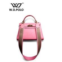 W.D.POLO Strapper you Genuine leather handbag women house of hi cover lock bag famous brand design bag shoulder bag M1701