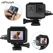 SOONSUN For GoPro Hero 5 Black Slim Protective Frame Wire Connectable Housing Case Shell w/ Soft Lens Cap for GoPro Hero5 Hero 6