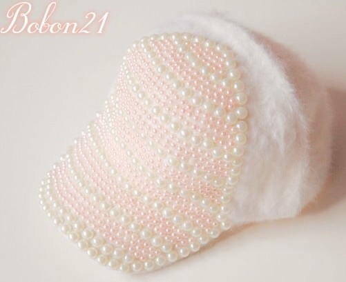 Princess sweet lolita hat Soft amo pink handmade white pearl Fluffy plush rabbit fur young girl baseball cap lolita cap ac0923 юбка arw amo amavel fint ank axes april cat lolita sk