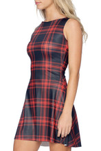 Vestidos 2016 Summer Red Black Plaid Tartan Punk Play Dress Fashion 4XL Plus Size Women Clothing