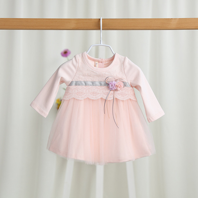 2017 Brand New Baby Girl Spring Tutu Dress Baby Infant Girls Long Sleeved Lace Flowers Princess Dress Birthday Party Dresses