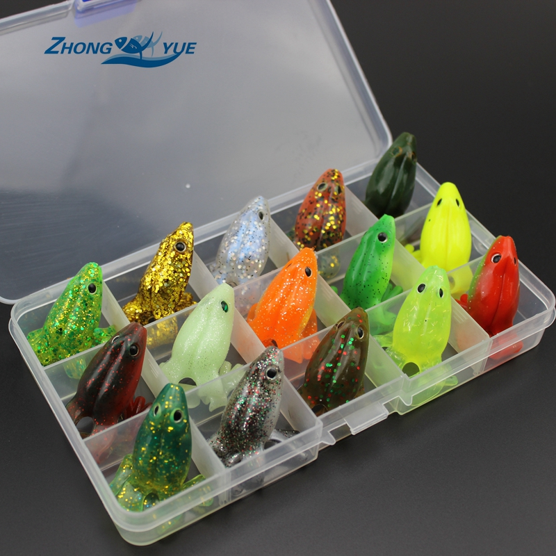 High Quality Mini 15pcs 15 colors Japanese soft bait frog Ray frog 5g 6cm bionic Lure bass blackfish designed Bait Lures Box y0018 wholesale ray frog sets playing blackfish bait lures bait floating frog bait fishing