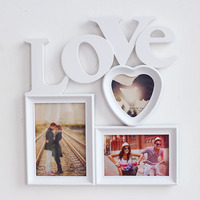 China Simple Love Combination Frame Wall Hanging Frame Heart shaped Photo Wall Studio Wedding Dress Photo Frame Decorations Gift