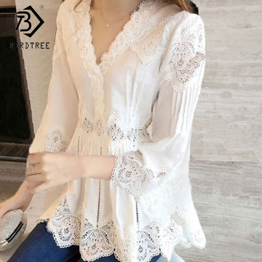 Spring Autumn New Arrival Women Sweet Ruffles V-Neck Fashion Lace Shirt Patchwork Hollow Out Women Blouses Casual Tops T80202L