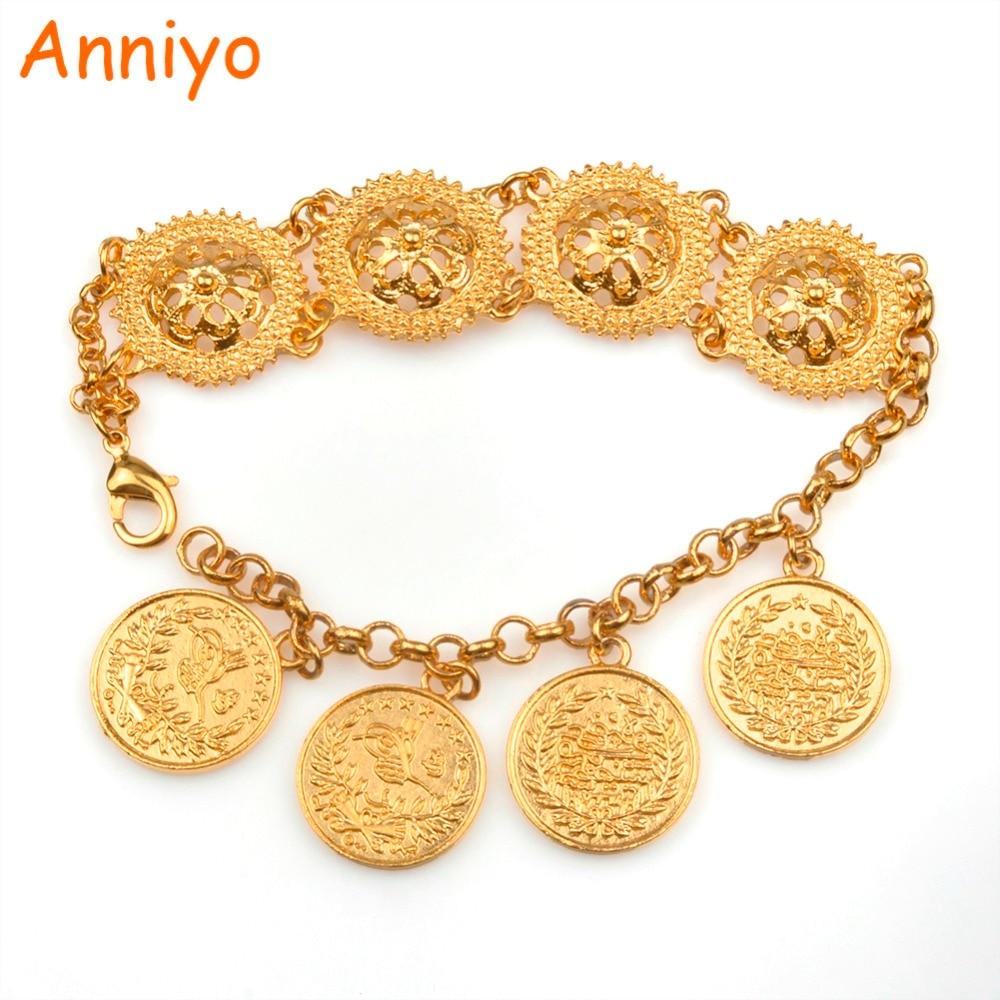 Anniyo Or Couleur Turquie Pièces Bracelet pour Femmes Turc Charme Bracelet  Moyen-Orient Style 9845a9aa962
