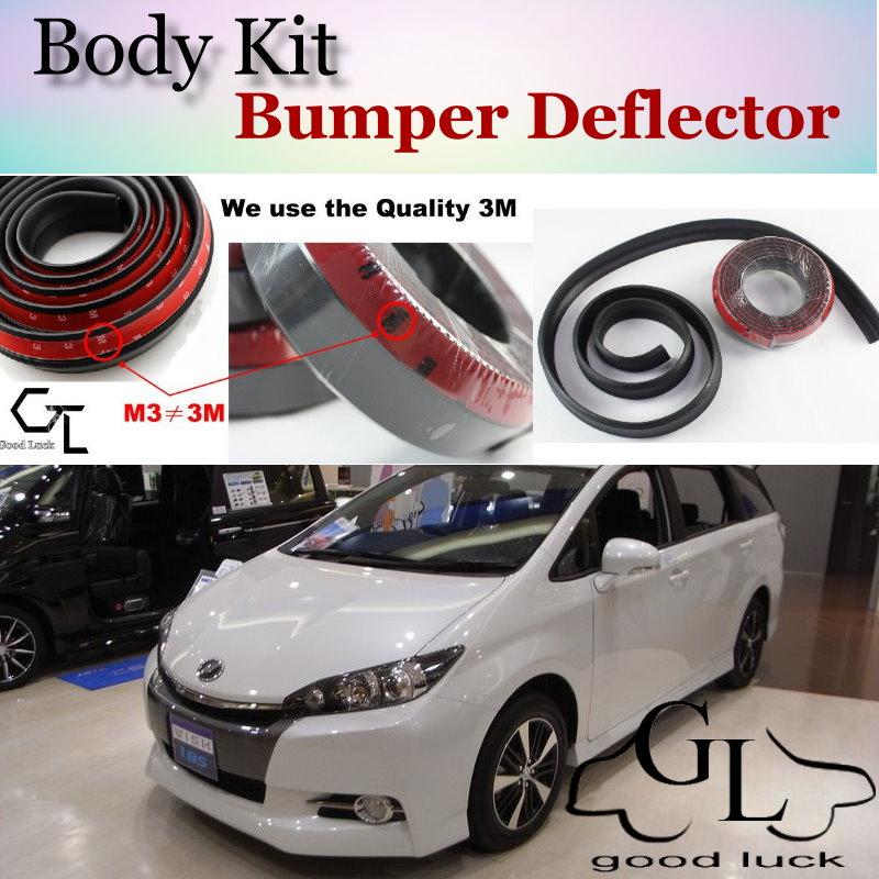 For TOYOTA Wish Bumper Lip / Front Spoiler Deflector / Body Kit / Strip Skirt / Car Scratch Proof Adhesive Strip