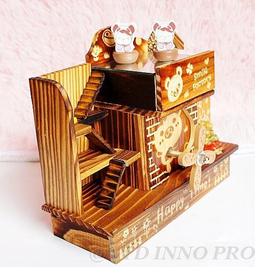 Handmade Mechanic Wooden Little Stairs House Music Box Pen Containers Chidren Toy Home Decor 2 Pieces