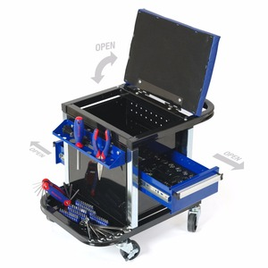 Image 5 - WORKPRO 135PC Tool Set Movable Workbench Seat car repair tool kit stool socket set mechanical hand tools sets box for car repair