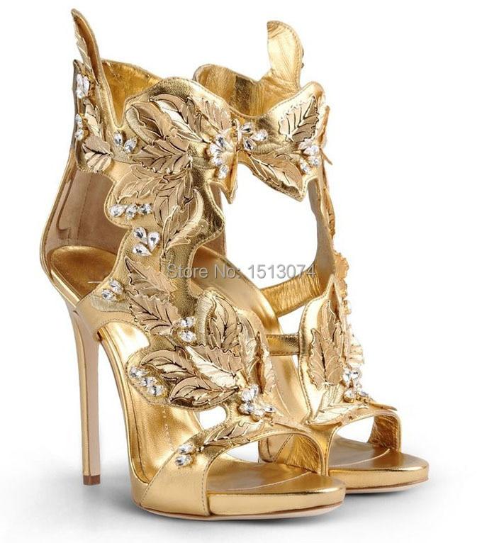 Online Shop Brand Shoes Woman Sexy Platform Sandals Gold Leaf