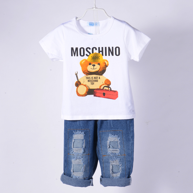 Baby Boys Clothes Children Sets Bear T Shirt Ripped Denim Shorts 2 Pcs Girls Clothing Sets Casual Boys Clothing Sets