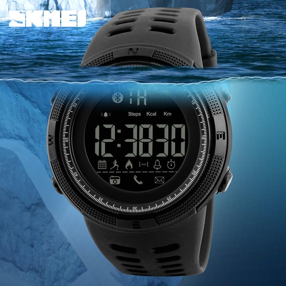 SKMEI Men Smart Watch Bluetooth Pedometer Calories Chronograph Fashion Outdoor Sport Watches EL Backlight Waterproof Man