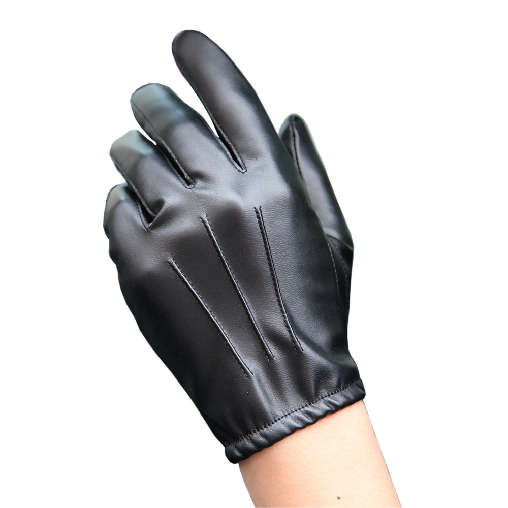 Fashion Black PU Leather Gloves Male Thin Style Driving Leather Men Gloves Non-Slip Five Fingers Full Palm Touchscreen PM014PN